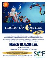 Promotional flyer for Noche de Cuentos
